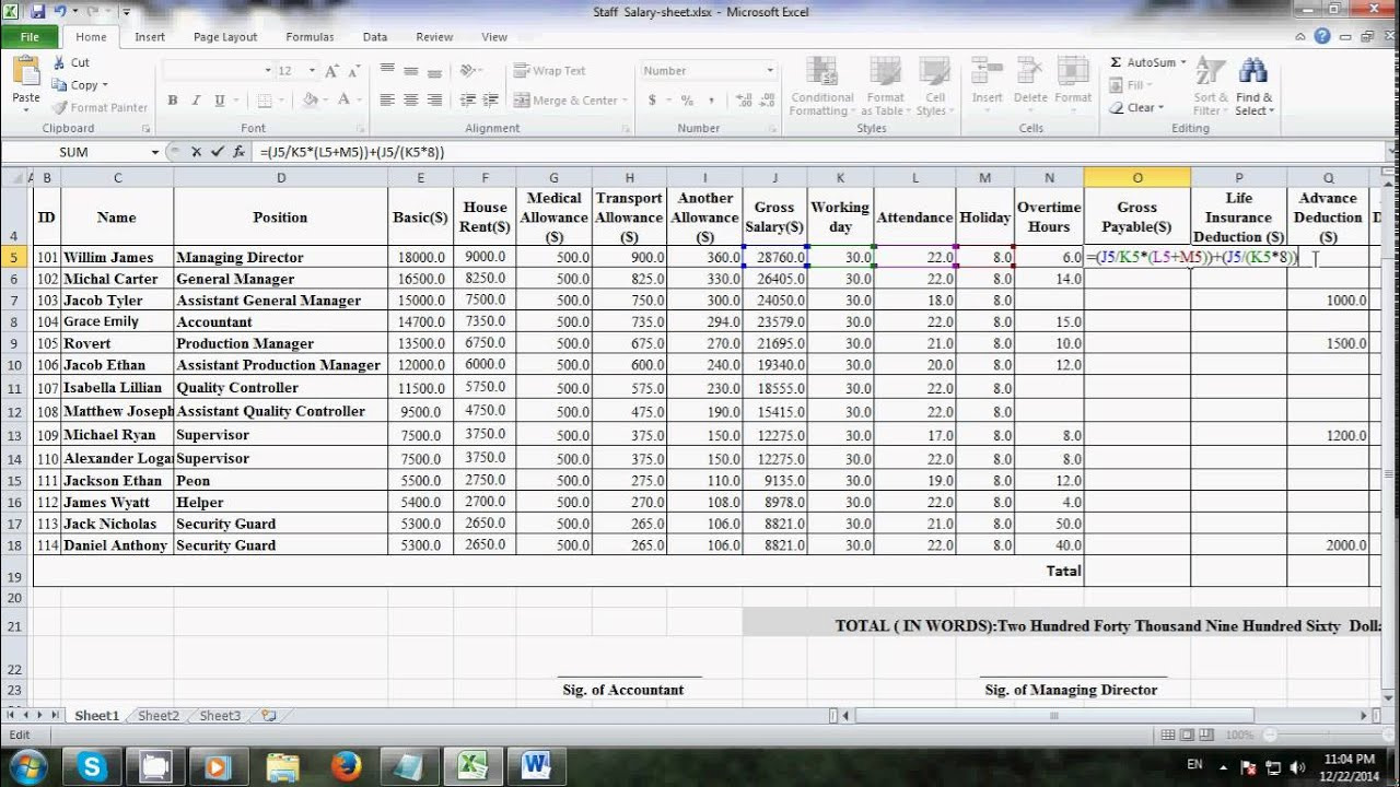 Employee Salary Sheet In Excel With Formula - salary slip sheet format templatesalary in excel ...