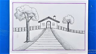 Pencil scenery drawing | Easy Drawing For Beginners | My home Scenery with Pencil Drawing