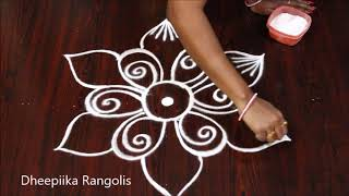 simple and easy freehand flower rangoli design * new kolam designs * easy rangoli designs