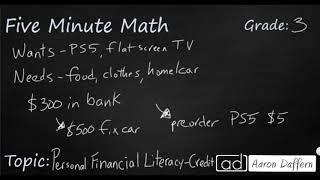 3rd Grade Math Personal Financial Literacy - Credit