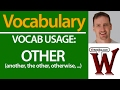 Vocabulary Usage: Other, Another, The Other, Others [Write to Top]