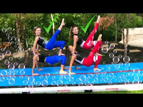 SLIP-N-SLIDE GYMNASTICS YOGA CHALLENGE (ft. Brooklyn and Bailey)