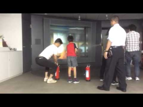 Fire extinguisher training with Tokyo Fire Department