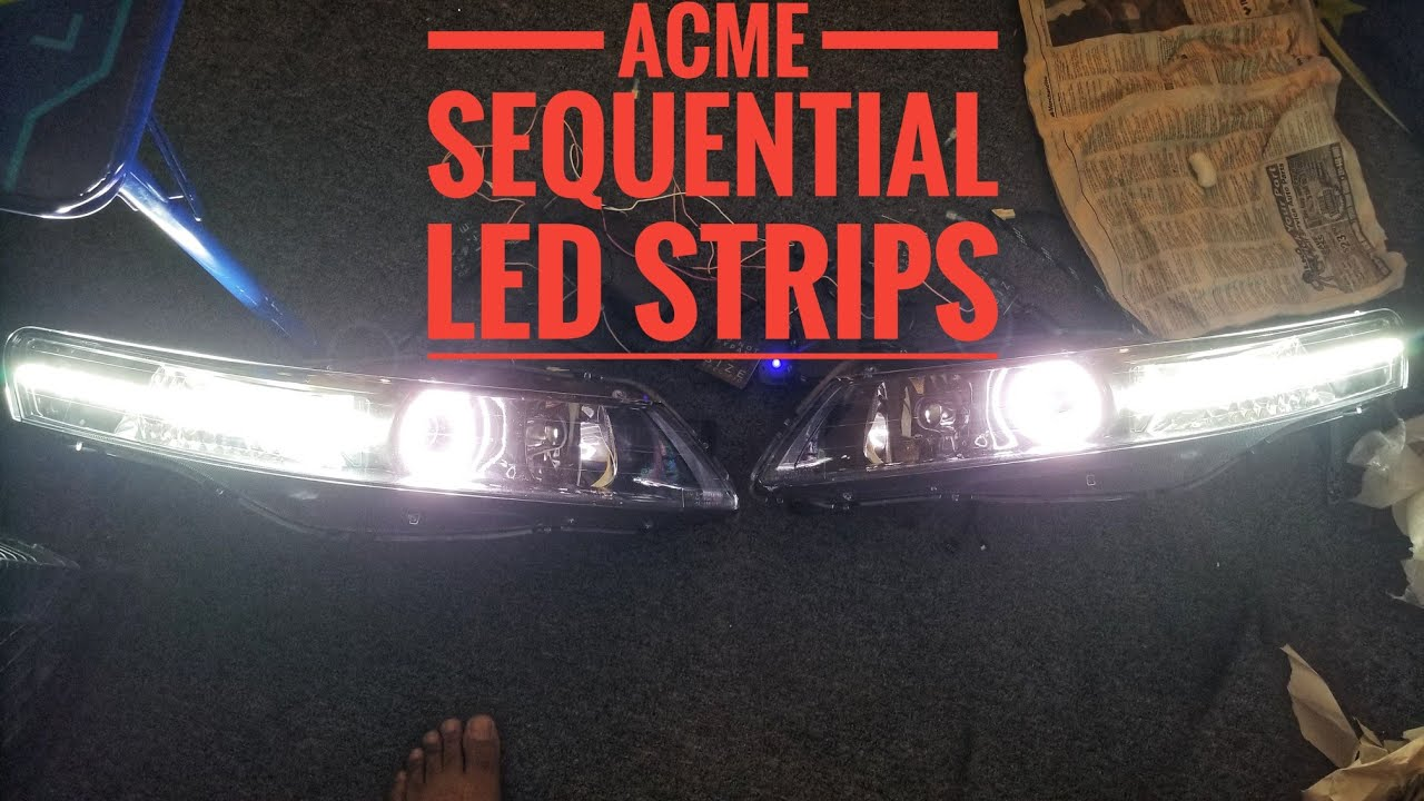 MY ACURA TL HEADLIGHT BUILD MORIMOTO LED SEQUENTIAL STRIP - YouTube