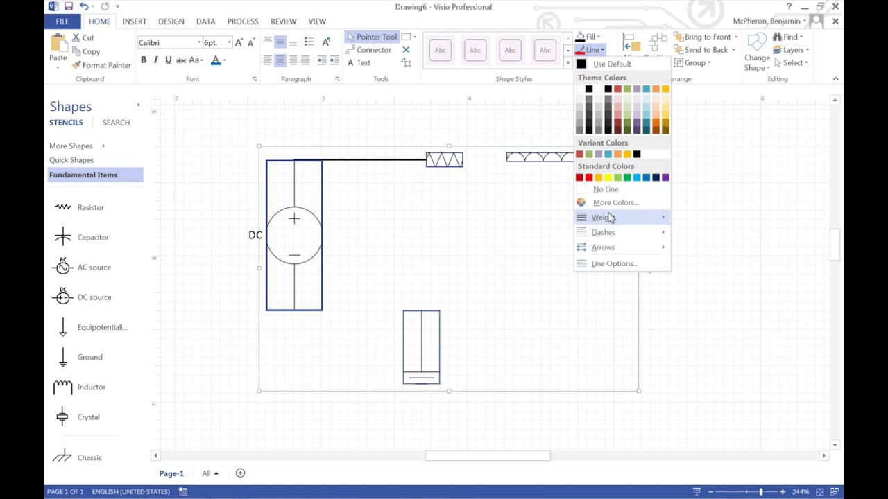 Making a Circuit in Visio - YouTube