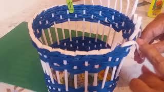 Корзиночка,сплетенная ситцевым плетением