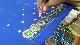 Making of Mirror and Kundan worked flowers with jari - hand embroidery making