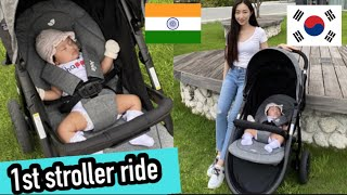 Eng) 새차 뽑구 산책가요🚗 Pico's 1st stroller ride🚗 Indian korean couple parenting vlog 국제커플 한국택배 언박싱
