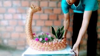 DIY // flower pot with cement and sand // How to make flower pots of Giraffe at home