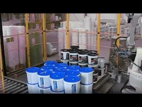 Robotic Palletiser Stacking Buckets Rplseries Youtube