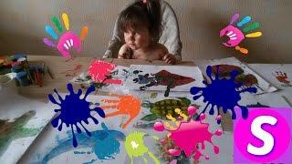 Челлендж ПАЛЬЧИКОВЫЕ КРАСКИ. КРАСИВЫЕ РИСУНКИ МОРСКИХ ЖИВОТНЫХ.Funny kids in the paint