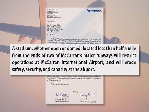 Southwest opposes stadium site near airport