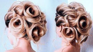 Обучение Прическам. Красивая Прическа на Новый 2019 Год.Flower Bun Hairstyle.New Bridal updo