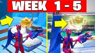 All Fortnite Season 7 Secret Battle Star Locations All weeks Week 1 TO Week 5 And Banners