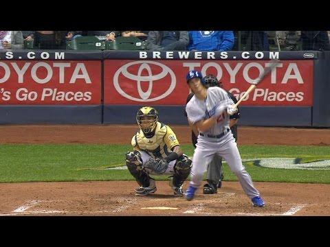 Zack Greinke flips his bat like YASIEL PUIG after rocket double