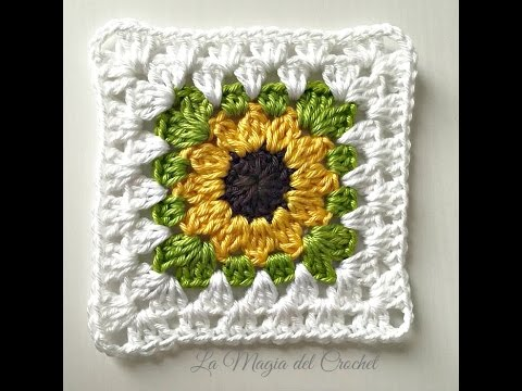 Granny square girasol a crochet youtube - Aplicaciones de ganchillo para mantas ...