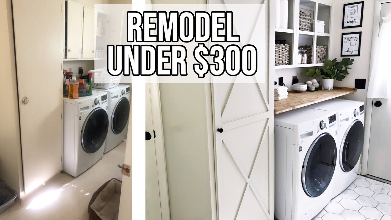 SMALL LAUNDRY ROOM MAKEOVER UNDER $17🧺