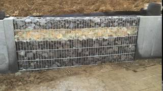 Dimmable MySensor LED strip embedded into a rock gabion.