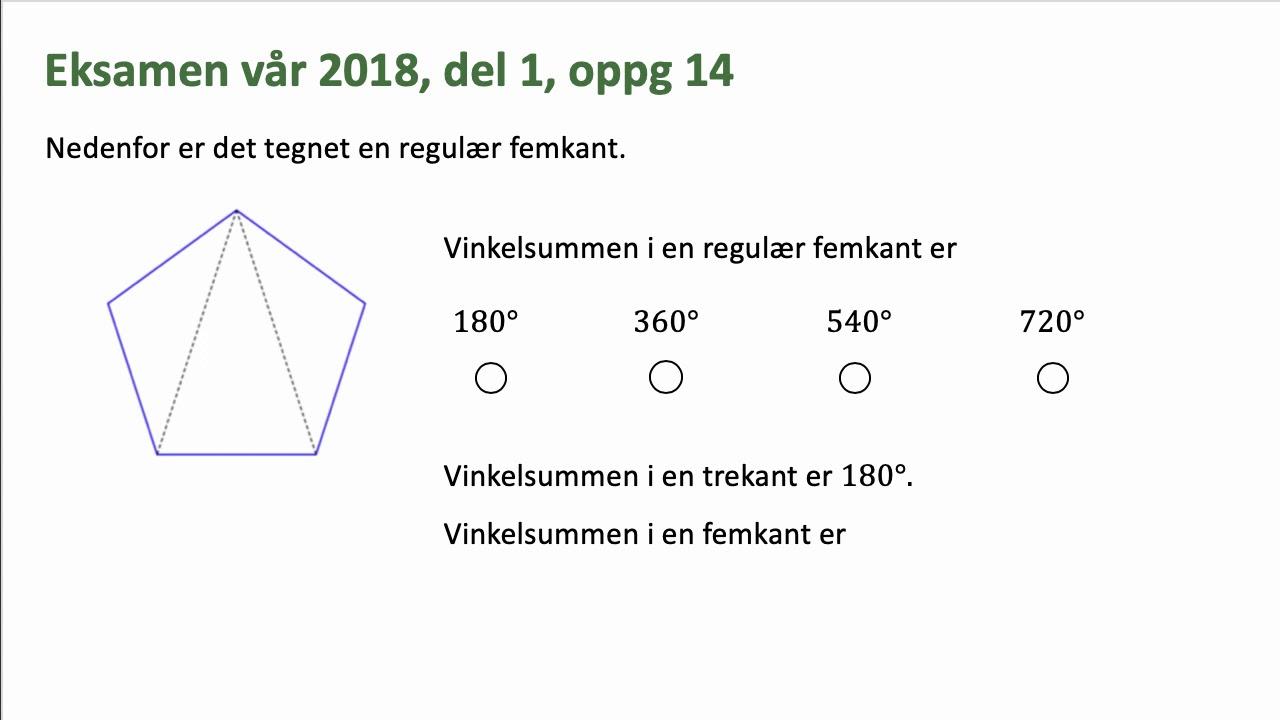 hvad er vinkelsummen i en femkant