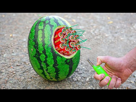 Experiment: A Lot Of Firecrackers In A Watermelon