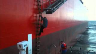 Captain Petke disembarking ship