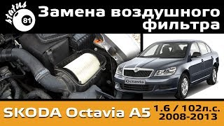 Замена воздушного фильтра Шкода Октавия А5 / MPI 1.6 BSE / Change air filter Skoda Octavia A5