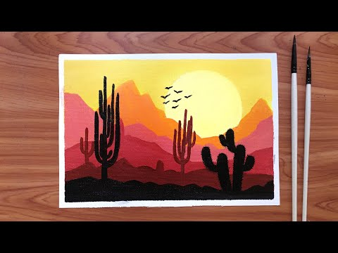 Sunset Desert silhouette landscape painting ~ Easy acrylic painting tutorial for beginners
