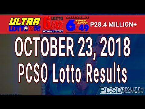 PCSO Lotto Results Today October 23, 2018 (6/58, 6/49, 6/42, 6D, Swertres, STL & EZ2)