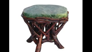 Crystal Stone Top Bamboo Wood Sticks Accent Stool Table Cs384