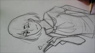 Speed Draw - Anime School girl (Half-body)