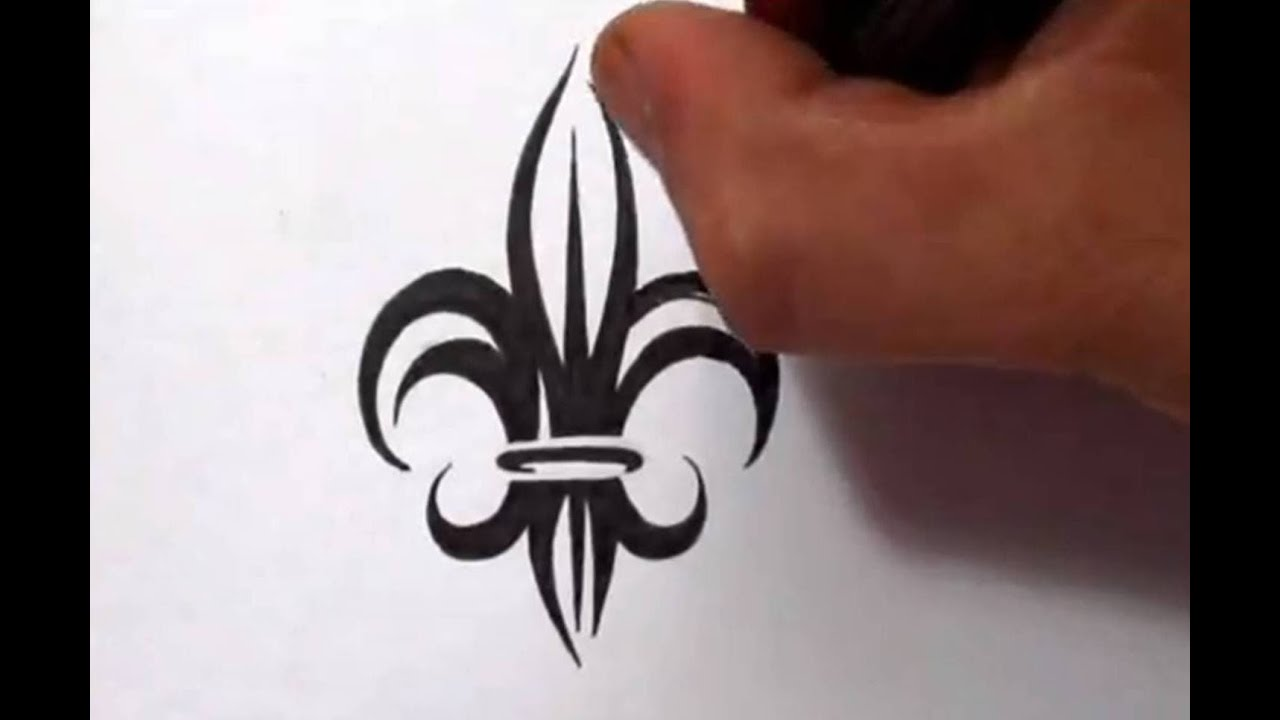 Drawing A Tribal Fleur De Lis Tattoo Design Youtube