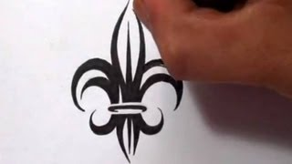 Drawing a Tribal Fleur De Lis Tattoo Design