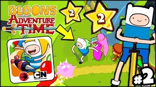 FINN THE HUMAN LEVEL UP! CAN HE POP MORE BLOONS?? (Bloons Adventure Time TD BATTD Gameplay Part 2)