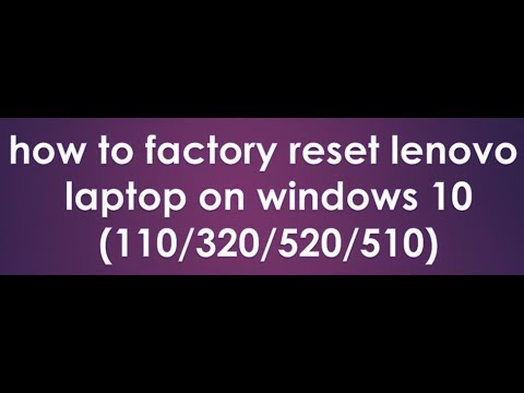 how to factory reset lenovo laptop on windows 10