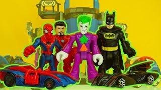 SPIDERMAN & BATMAN get turned into HOT WHEELS cars by JOKER ! superhero toys imaginext