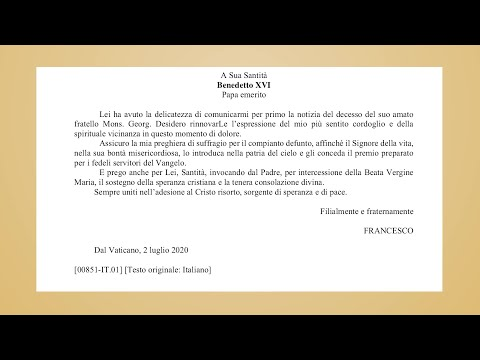 Pope Francis sends condolences to Benedict XVI for death of his brother Georg