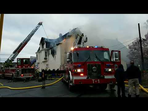 Passic Nj FD 4th Alarm Fire (King of Delancey deli) W/Entrapment 4-18-18 P-3
