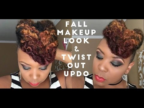Smokey Eye Fall Makeup Natural Hair Twist Out Updo Youtube