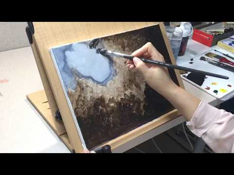 -Acrylic painting – Landscape #31 🌳 Indian Summer – How to Paint Wood in Acrylic – Simple painting