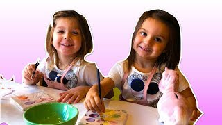 Elya & Adelya in COLOR ME MINE decorate ceramic UNICORN | Miami - Video for kids