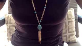Long turquoise tassel adjustable Gold necklace   N753