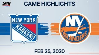 NHL Highlights | Rangers vs. Islanders - Feb. 25, 2020
