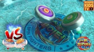 스핀파이터 배틀 무한에너지 l 오션드래곤킹 vs 어둠의신 아리안 l 스핀파이터 vs 베이블레이드 vs 탑플레이트 l 팽이배틀 l Top toy battle game