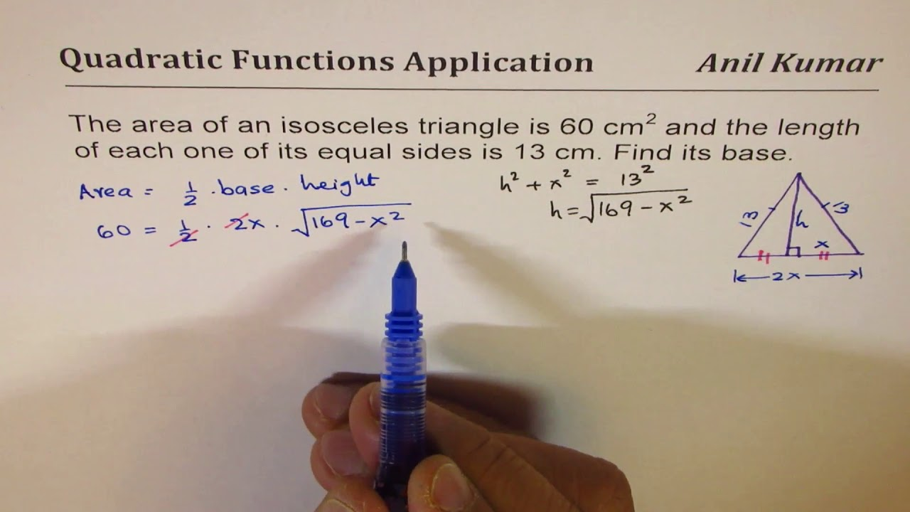 60 Cm Area Of Isosceles Triangle Is 60 With 13 Cm Sides Find Base Length