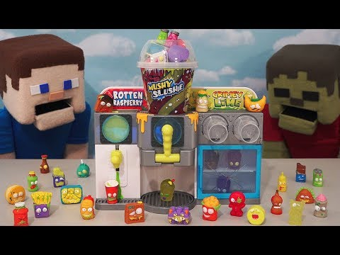 The Grossery Gang Mushy Slushie Playset Machine blind bag Shopkins Moose Toys Unboxing Minecraft