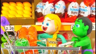 Superhero Babies At The Supermarket Hulk Frozen Elsa Play Doh Cartoons Stop Motion Movies