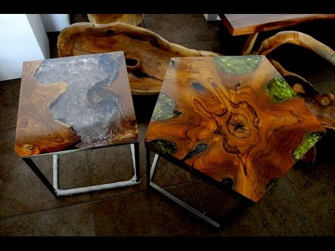 Reclaimed Teak Wood Cracked Resin Side Tables Youtube