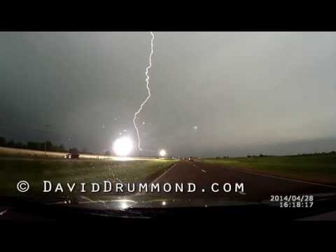 04/29/2014 Close Lightning Hits Power Lines with Showers of Sparks