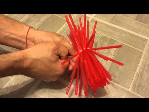 Boule de no l avec pailles youtube - Quoi faire avec des pompons ...