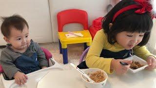 おもちゃの冷蔵庫に納豆!?リアル赤ちゃんのおせわごっこ!Natto in Refrigerator Toy